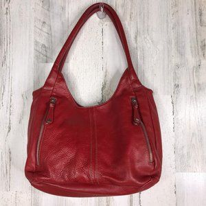 Tignanello red pebbled leather double handle hobo